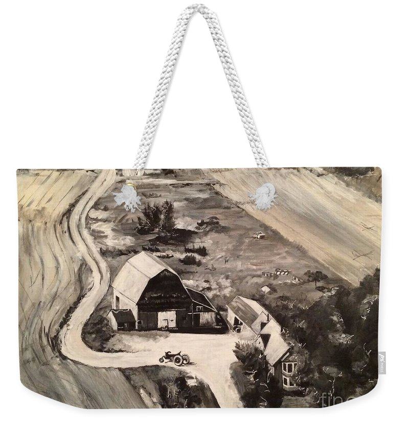 Maine; Potato Farm; Farm Weekender Tote Bag featuring the painting Turner Homestead Circa 1963 by Judith Rice