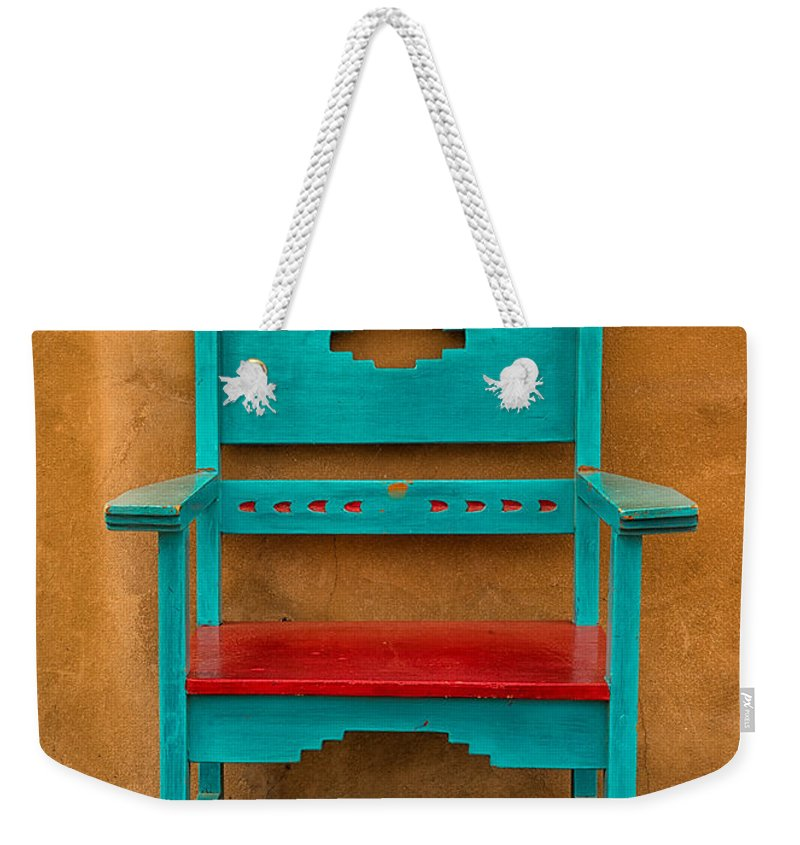 Adobe Weekender Tote Bag featuring the photograph Turquoise And Red Chair by Jerry Fornarotto