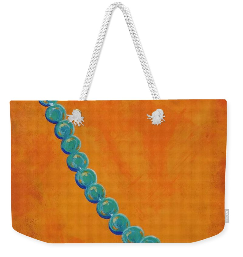 Turquoise Weekender Tote Bag featuring the painting Turquoise Beads by Margaret Bobb