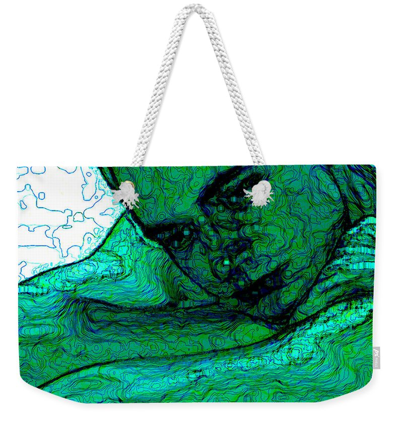 Abstract Weekender Tote Bag featuring the digital art Turquoise Man by Stephen Lucas