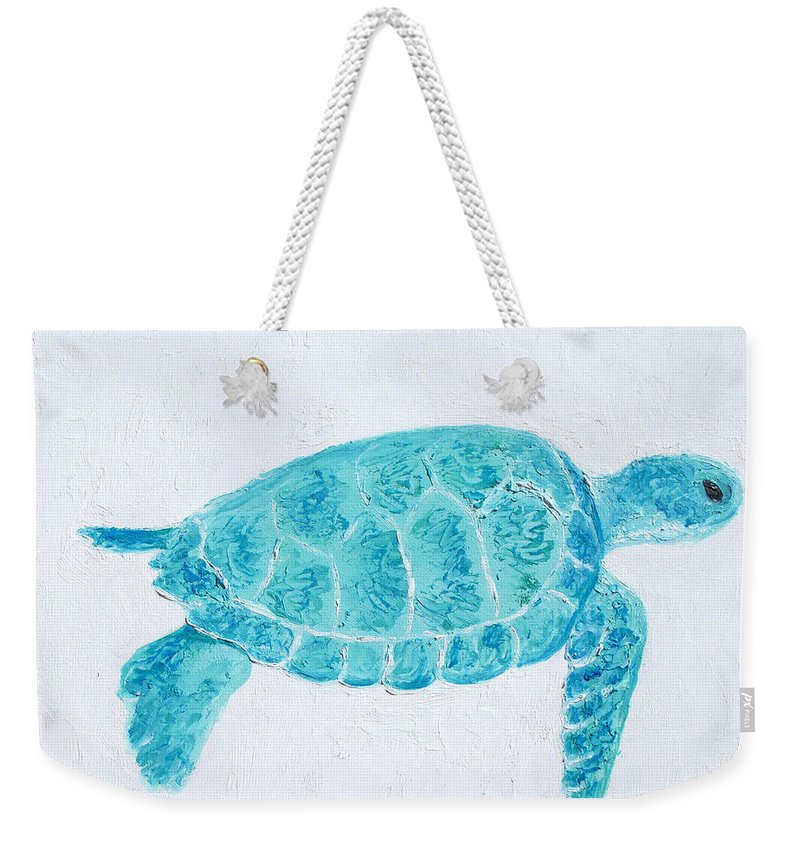 Turtle Weekender Tote Bag featuring the painting Turquoise Marine Turtle by Jan Matson