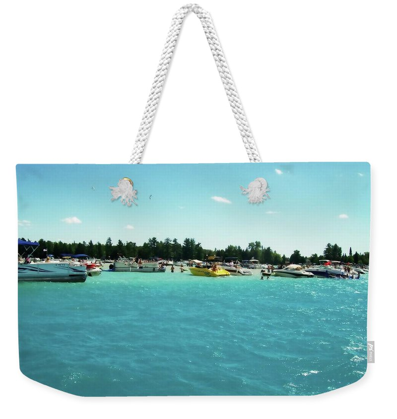 Michigan Weekender Tote Bag featuring the photograph Turquoise Waters At The Torch Lake Sandbar by Michelle Calkins