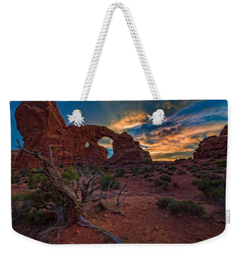 Turret Weekender Tote Bag featuring the photograph Turret Arch At Sunset by Rick Berk