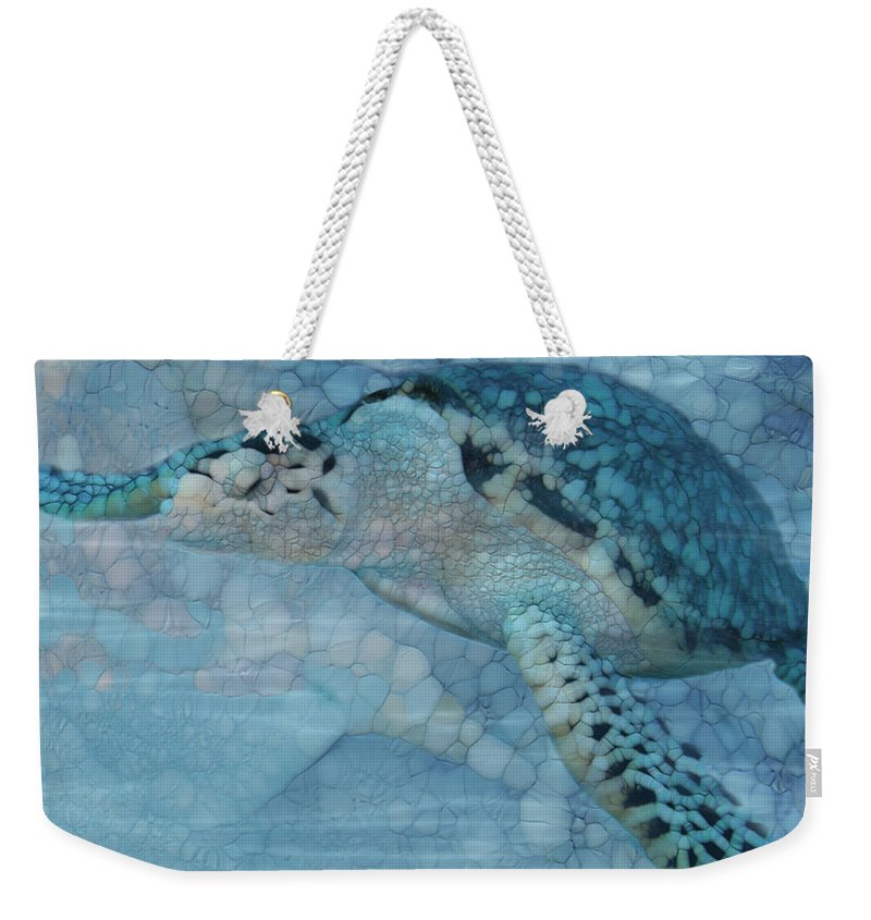 Sea Turtle Weekender Tote Bag featuring the painting Turtle - Beneath The Waves Series by Jack Zulli
