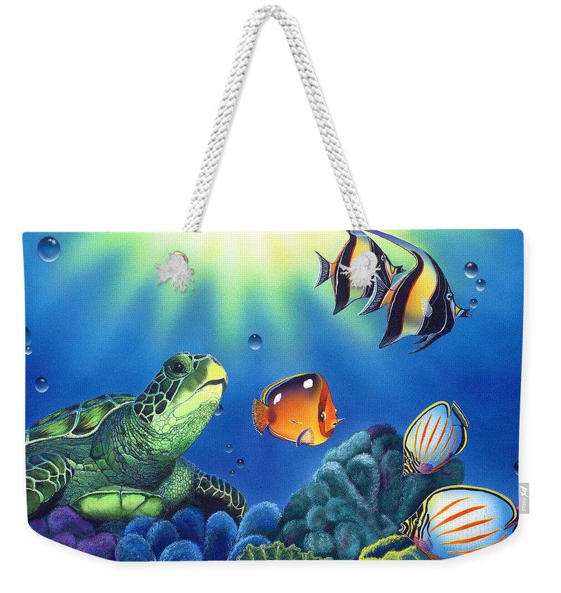 Turtle Weekender Tote Bag featuring the painting Turtle Dreams by Angie Hamlin