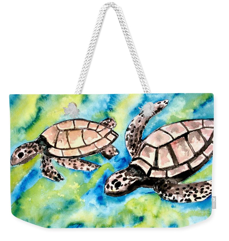 Love Weekender Tote Bag featuring the painting Turtle Love Pair Of Sea Turtles by Derek Mccrea