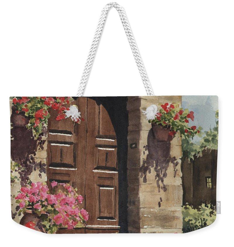 Flowers Weekender Tote Bag featuring the painting Tuscan Door by Sam Sidders