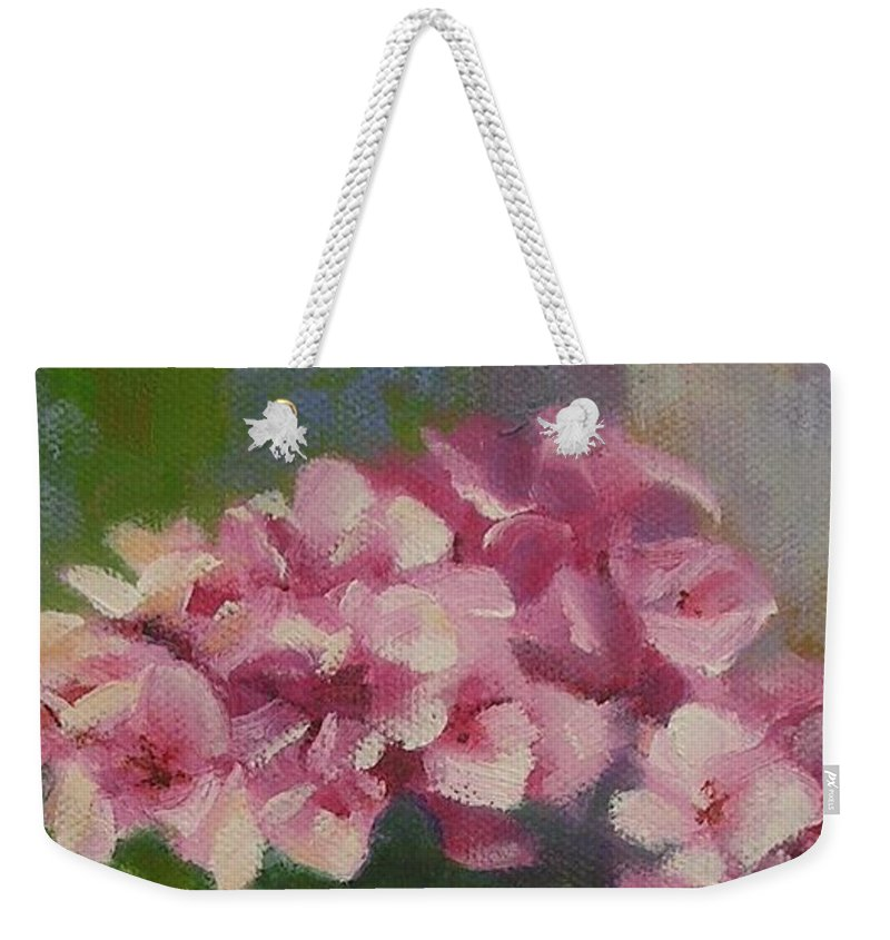 Still Life Weekender Tote Bag featuring the painting Tuscan Flower Pot Oil Painting by Chris Hobel
