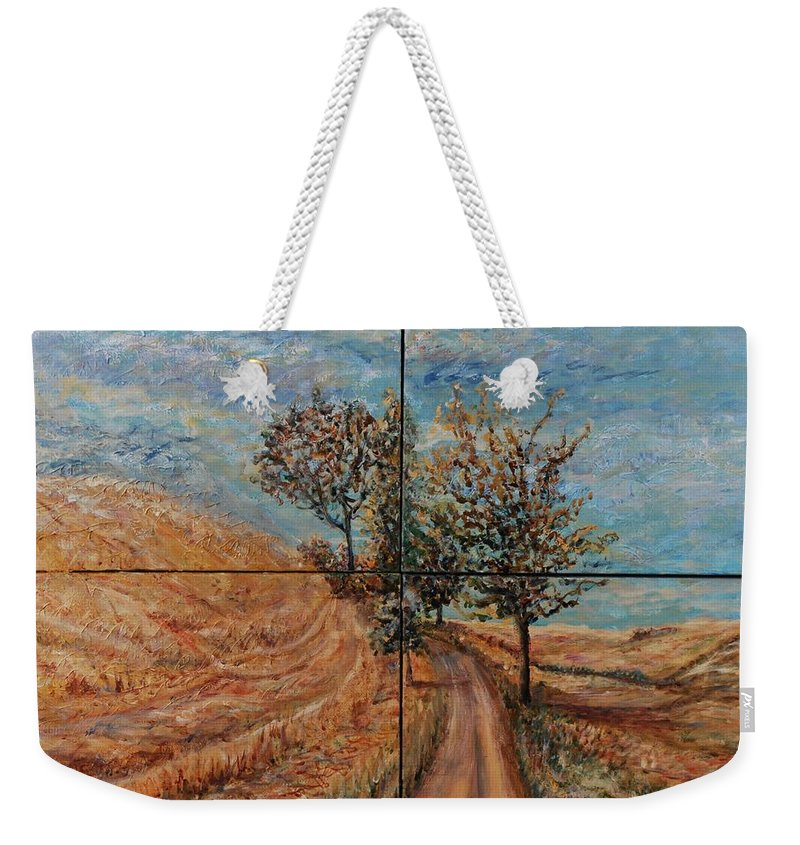 Landscape Weekender Tote Bag featuring the painting Tuscan Journey by Nadine Rippelmeyer