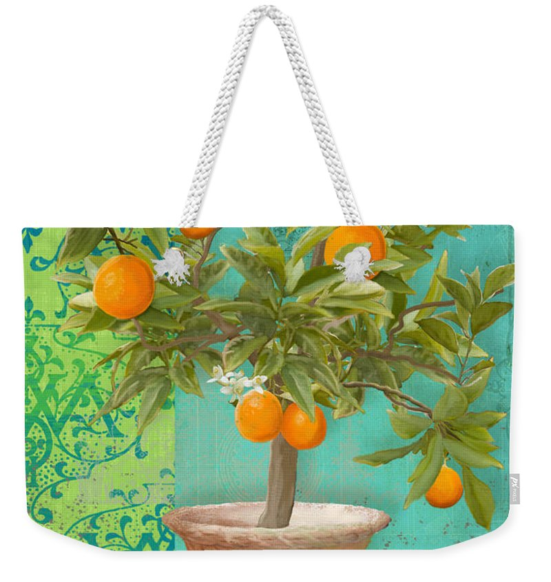 Tuscan Weekender Tote Bag featuring the painting Tuscan Orange Topiary - Damask Pattern 2 by Audrey Jeanne Roberts