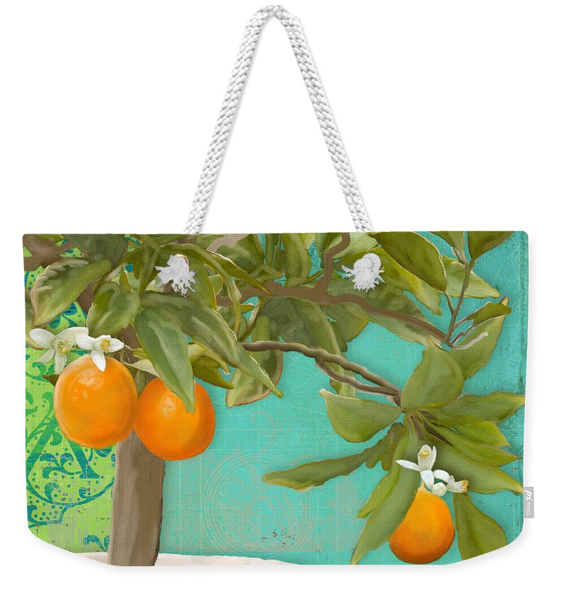 Tuscan Weekender Tote Bag featuring the painting Tuscan Orange Topiary - Damask Pattern 3 by Audrey Jeanne Roberts