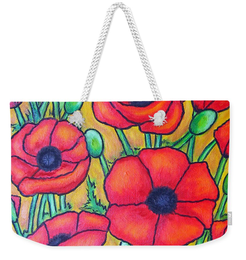 Poppies Weekender Tote Bag featuring the painting Tuscan Poppies - Crop 1 by Lisa Lorenz