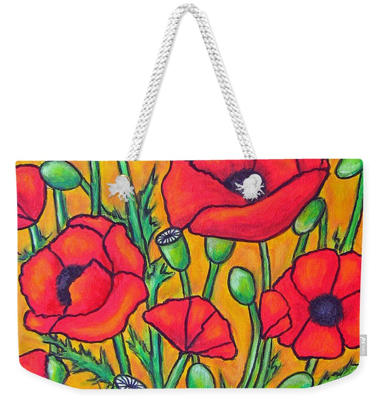 Poppies Weekender Tote Bag featuring the painting Tuscan Poppies - Crop 2 by Lisa Lorenz