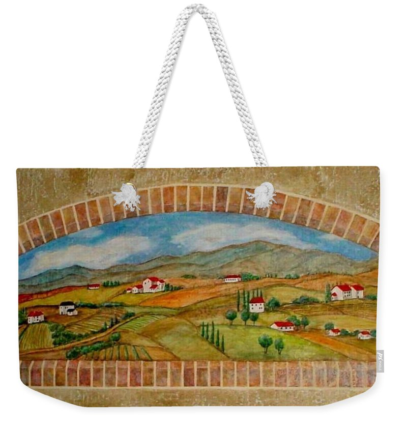 Mural Weekender Tote Bag featuring the painting Tuscan Scene Brick Window by Anita Burgermeister