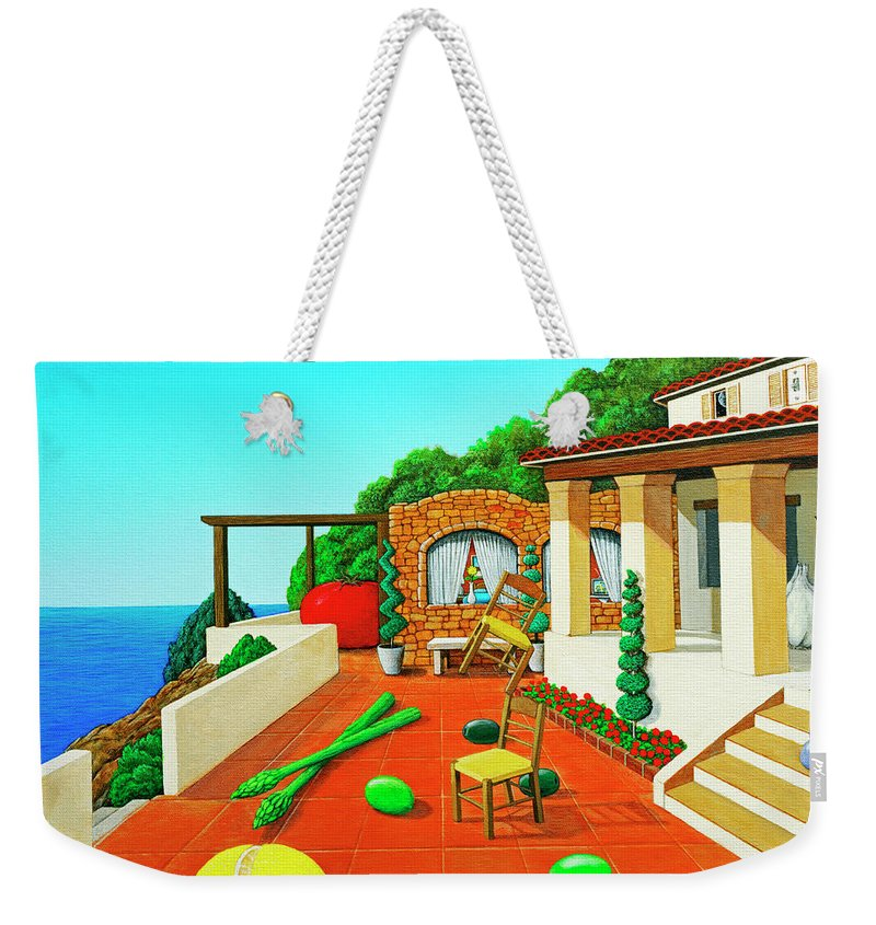 Tuscan Weekender Tote Bag featuring the painting Tuscan Vacation by Snake Jagger