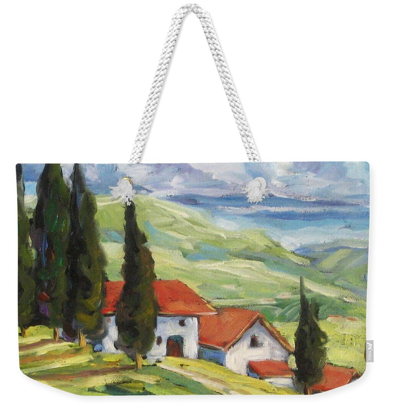 Tuscan Weekender Tote Bag featuring the painting Tuscan Villas by Richard T Pranke