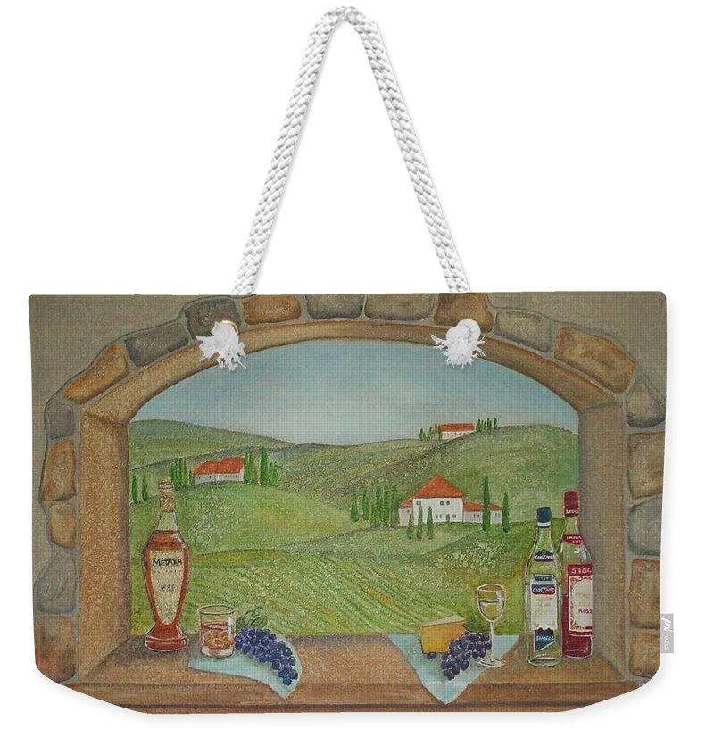 Mural Weekender Tote Bag featuring the painting Tuscan Window View by Anita Burgermeister