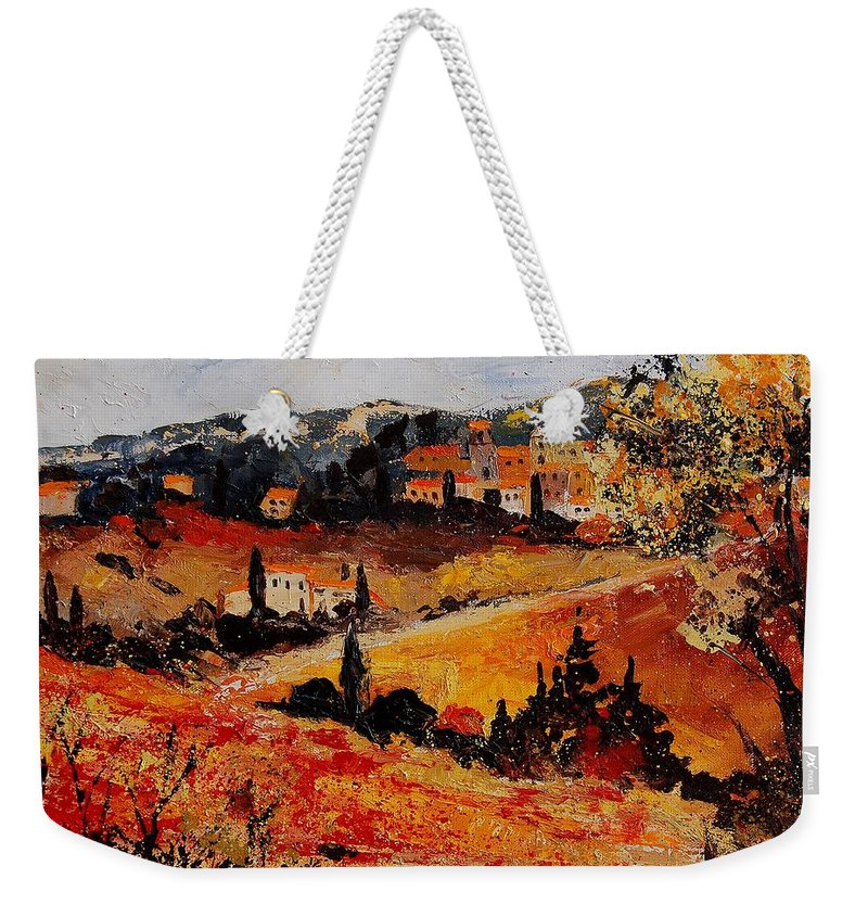 Provence Weekender Tote Bag featuring the painting Tuscany 56n by Pol Ledent