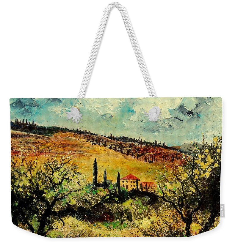 Provence Weekender Tote Bag featuring the painting Tuscany 67 by Pol Ledent