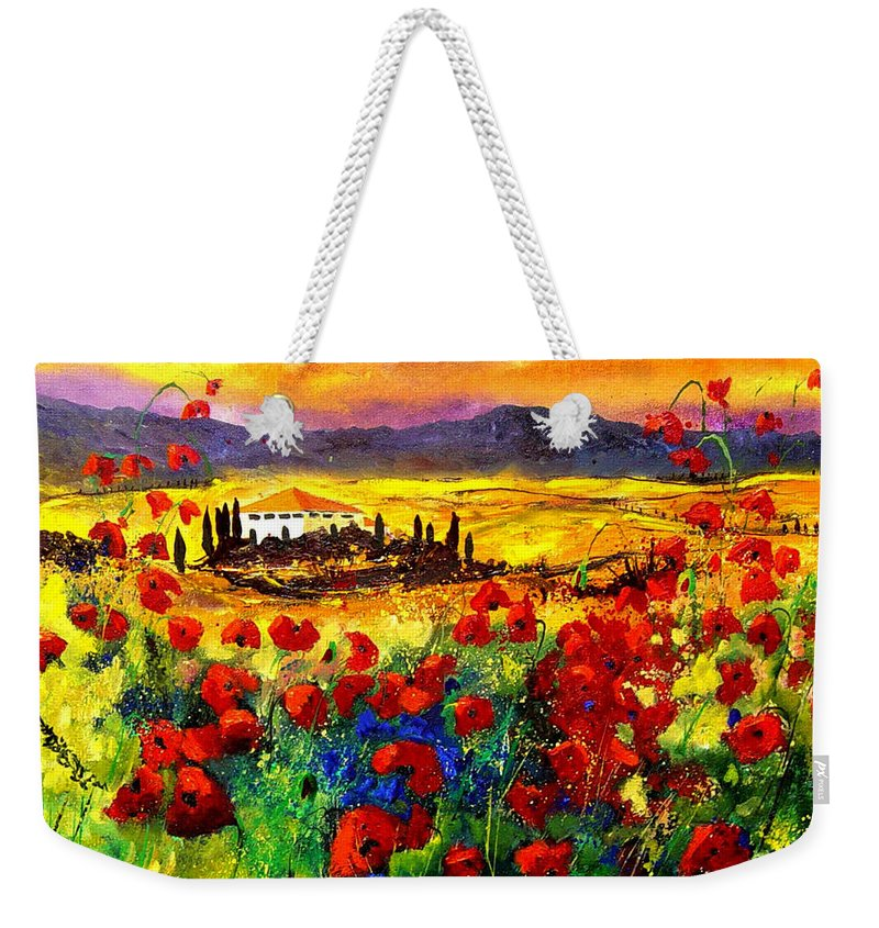 Landscape Weekender Tote Bag featuring the painting Tuscany 68 by Pol Ledent