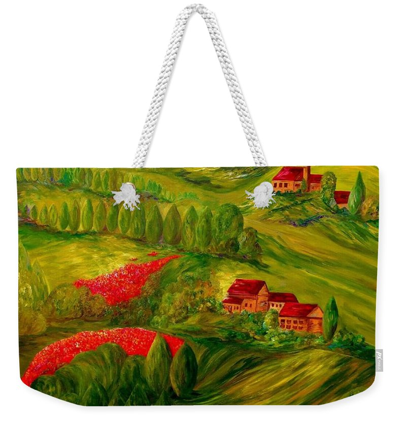 Tuscany Weekender Tote Bag featuring the painting Tuscany At Dawn by Eloise Schneider Mote