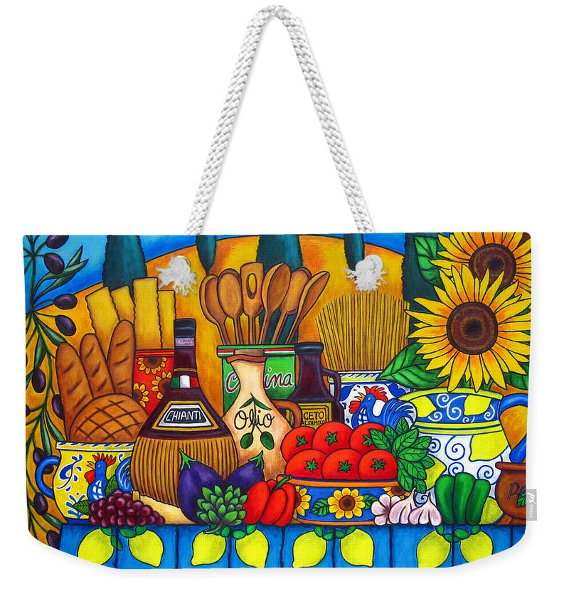 Still Life Weekender Tote Bag featuring the painting Tuscany Delights by Lisa Lorenz
