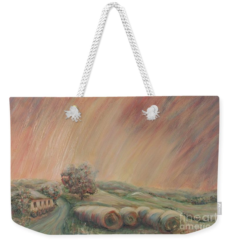 Landscape Weekender Tote Bag featuring the painting Tuscany Hayfields by Nadine Rippelmeyer