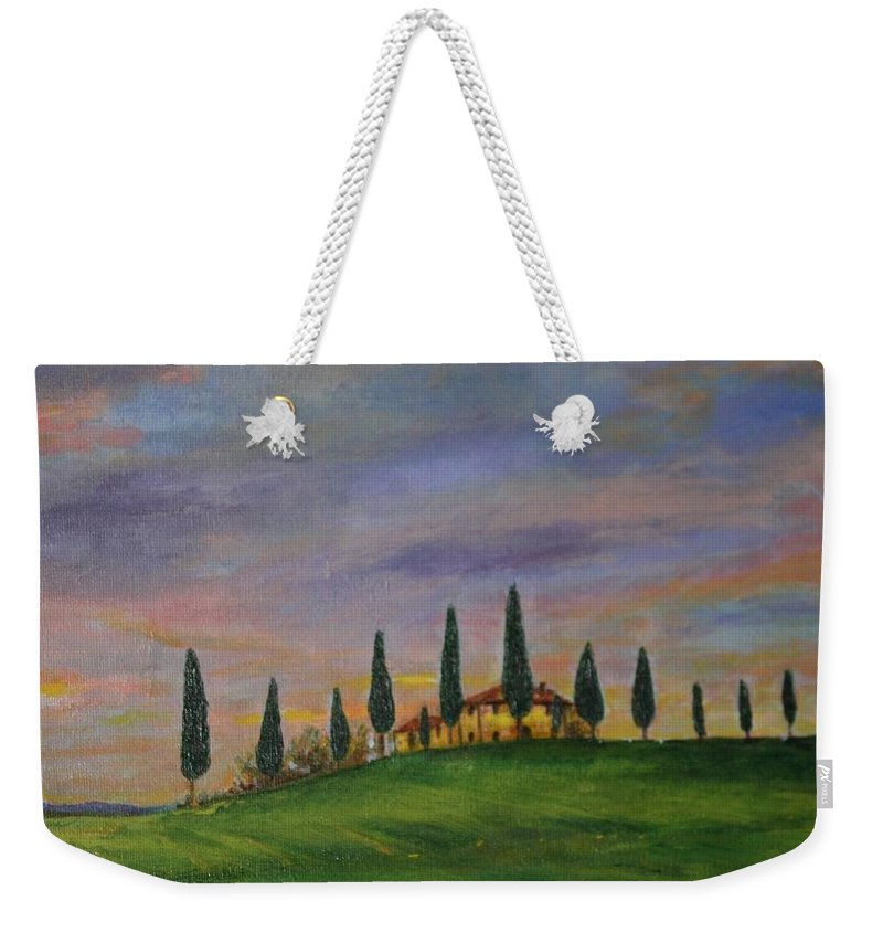 Landscape Weekender Tote Bag featuring the painting Tuscany Home by Antonina Dunaeva