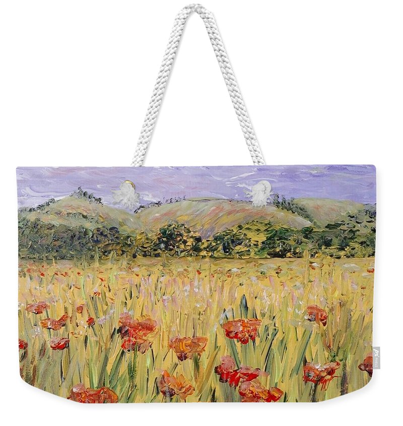 Poppies Weekender Tote Bag featuring the painting Tuscany Poppies by Nadine Rippelmeyer