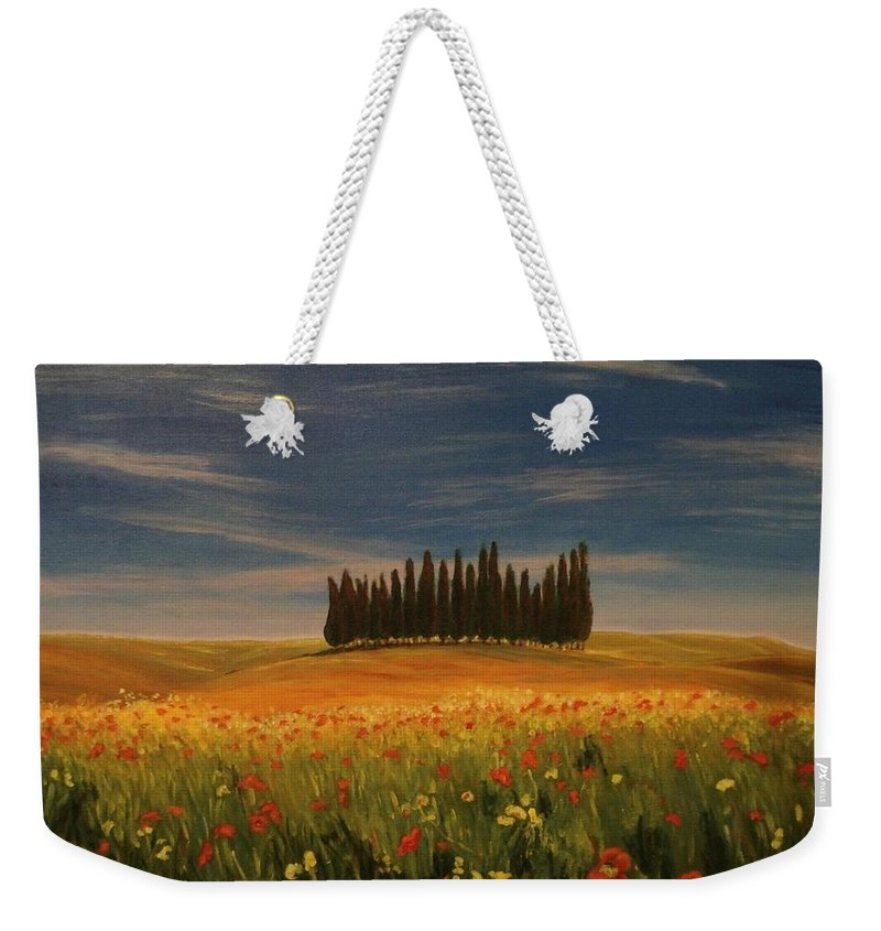 Landscape Weekender Tote Bag featuring the painting Tuscany Soldiers by Antonina Dunaeva