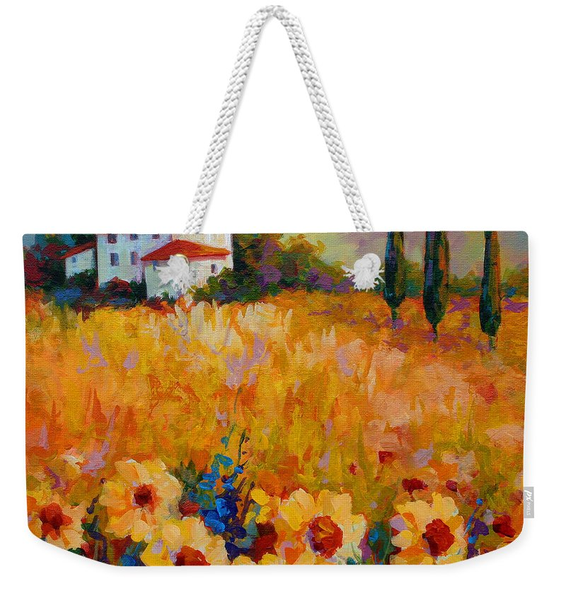 Tuscany Weekender Tote Bag featuring the painting Tuscany Sunflowers by Marion Rose