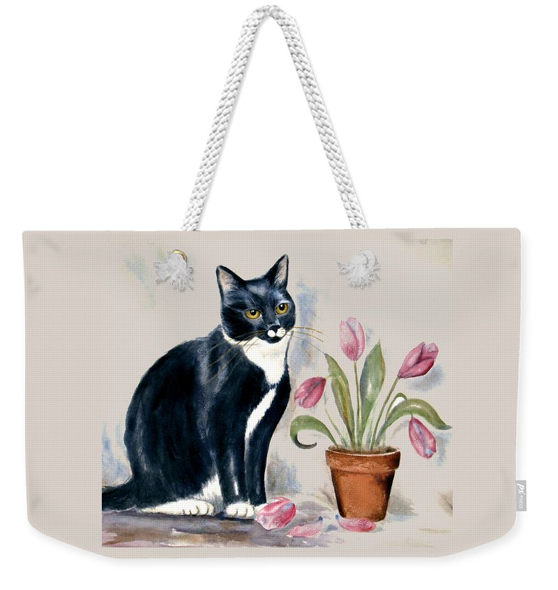 Cat Weekender Tote Bag featuring the painting Tuxedo Cat Sitting By The Pink Tulips by Frances Gillotti