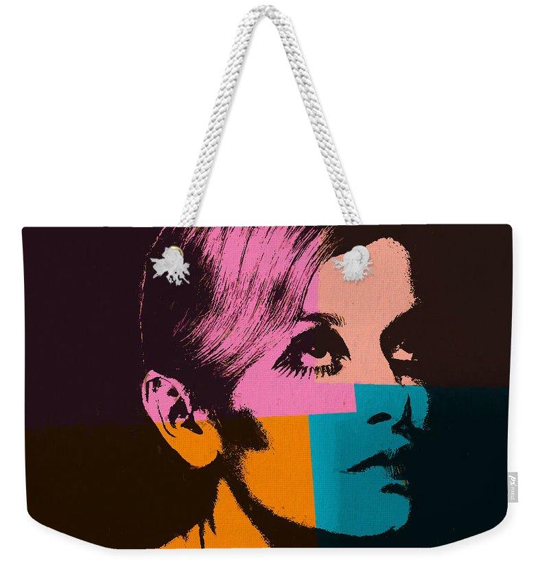 Twiggy Pop Art 2 Weekender Tote Bag featuring the mixed media Twiggy Pop Art 2 by Dan Sproul