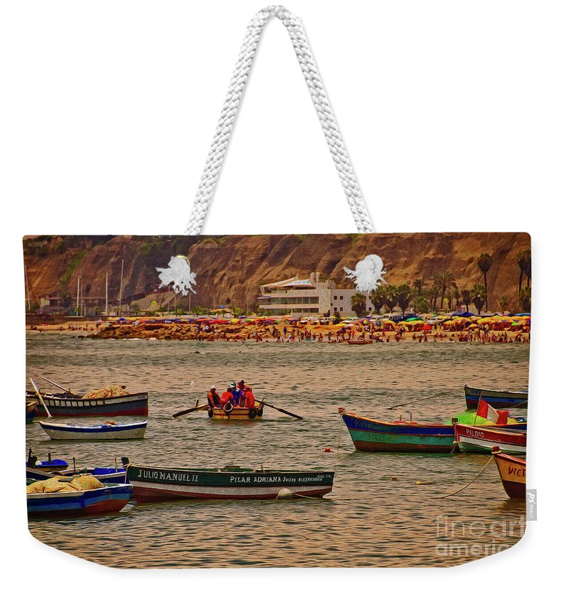 City Weekender Tote Bag featuring the photograph Twilight At The Beach, Miraflores, Peru by Mary Machare