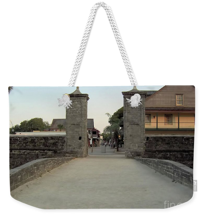 City Gates Weekender Tote Bag featuring the photograph Twilight At The City Gates by D Hackett