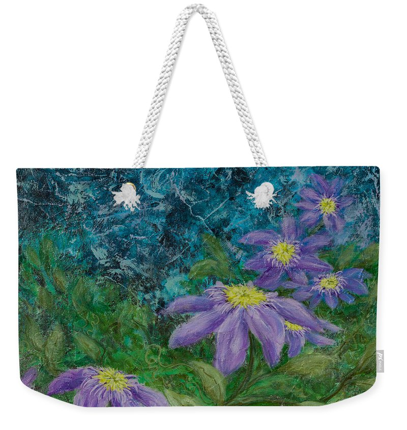 2015 Weekender Tote Bag featuring the painting Twilight Clematis by Karen Forsyth