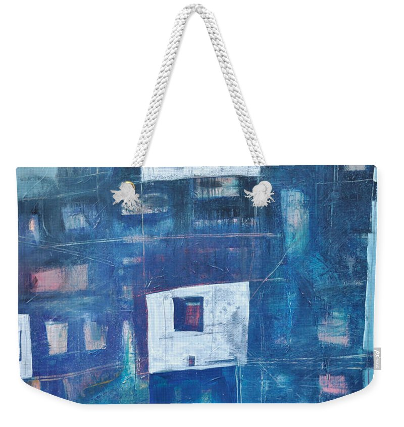 Abstract Weekender Tote Bag featuring the painting Twilight Highrise by Tim Nyberg