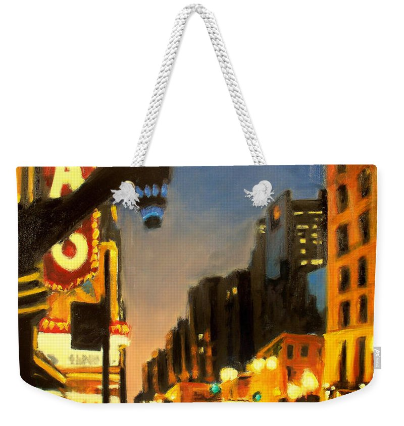 Rob Reeves Weekender Tote Bag featuring the painting Twilight In Chicago - The Watcher by Robert Reeves