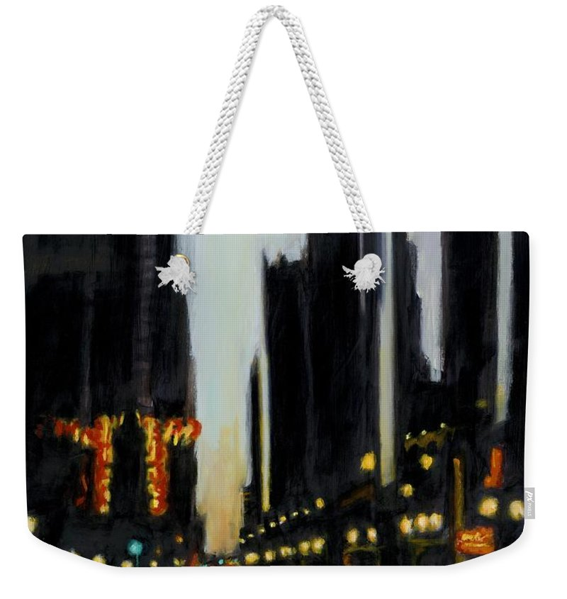 Rob Reeves Weekender Tote Bag featuring the painting Twilight In Chicago by Robert Reeves