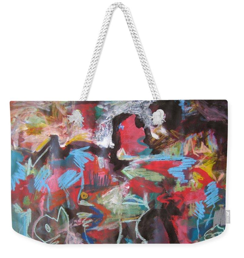 Original Weekender Tote Bag featuring the painting Twilight In Ocean by Seon-Jeong Kim