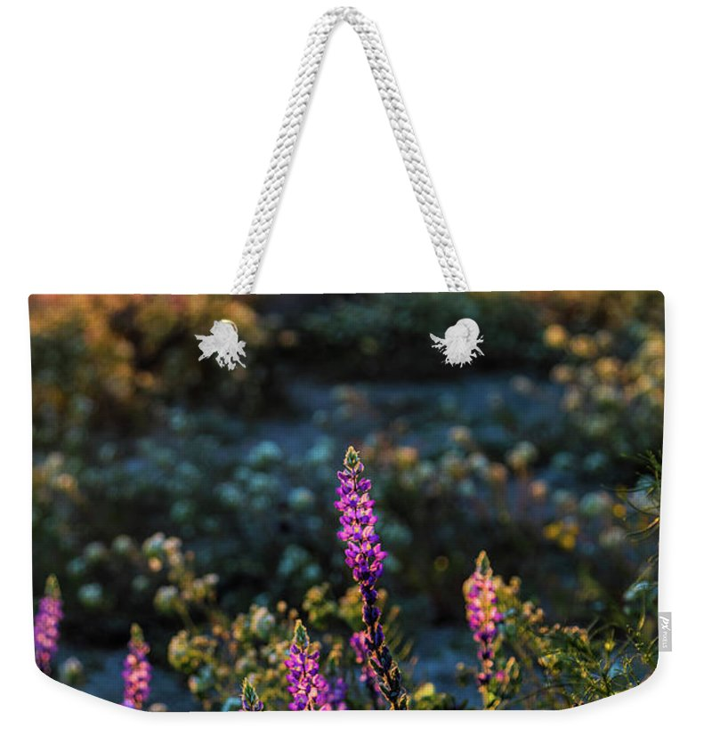 Landscape Weekender Tote Bag featuring the photograph Twilight Lupine by Laura Roberts