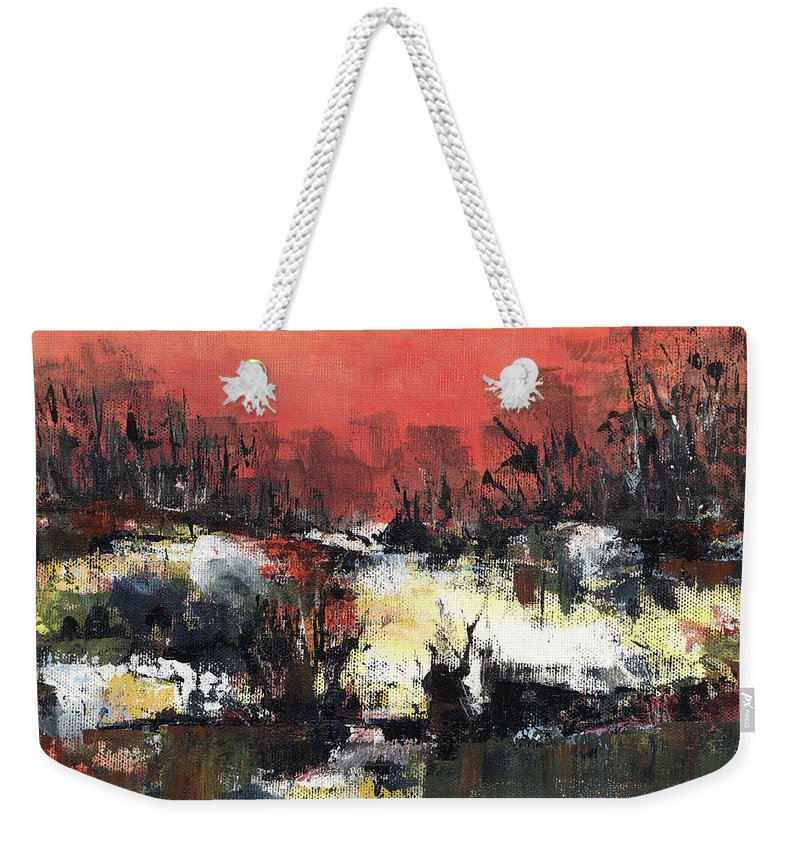 Abstract Weekender Tote Bag featuring the painting Twilight Madness by Aniko Hencz
