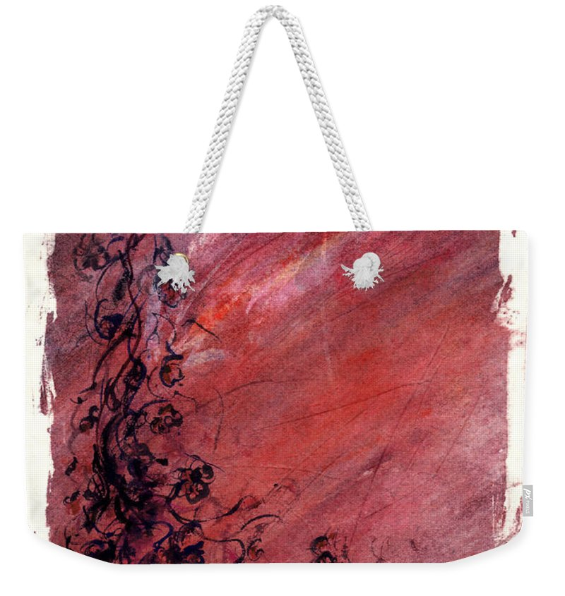 Floral Weekender Tote Bag featuring the painting Twilight Rose by Rachel Christine Nowicki