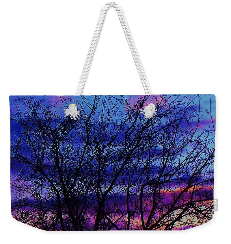 Twilight Weekender Tote Bag featuring the painting Twilight Sunset by Eric Schiabor