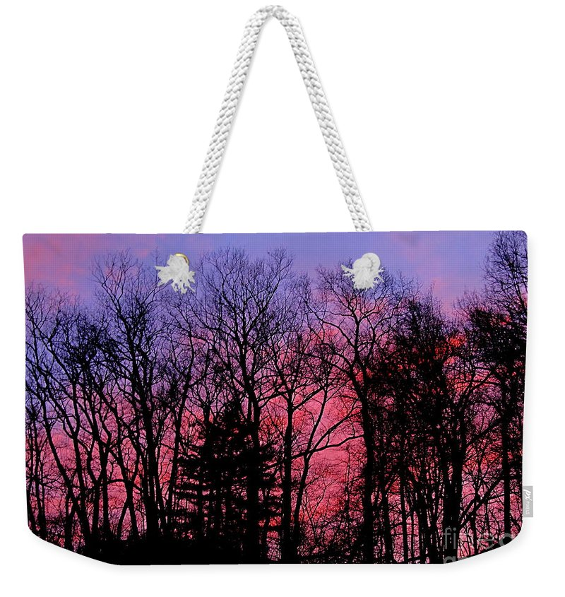 Twilight Trees Forest Sunsets Silhouette Nature Prints Natural Landscapes Skyscapes Colorful Skies Pink And Purple Clouds Weekender Tote Bag featuring the photograph Twilight Trees by Joshua Bales