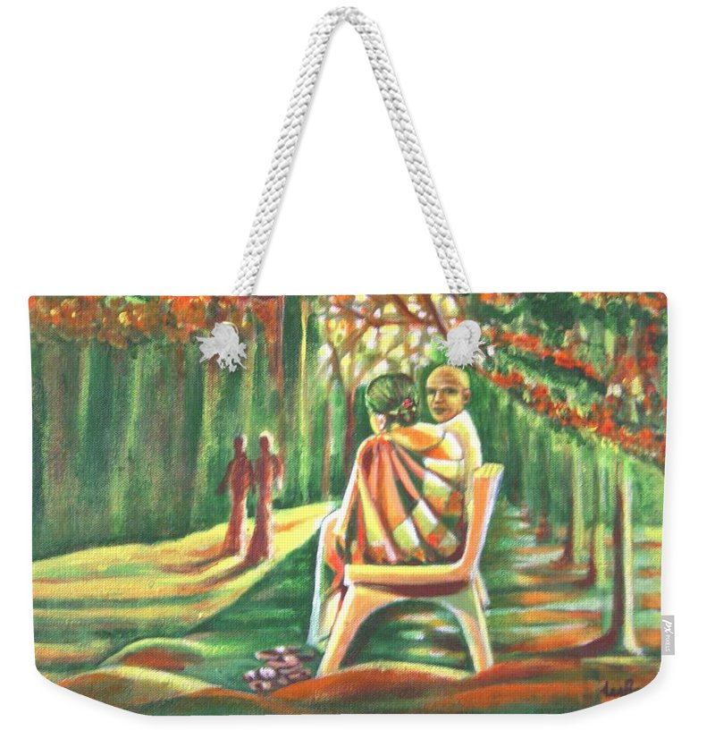 Twilight Weekender Tote Bag featuring the painting Twilight Years by Usha Shantharam