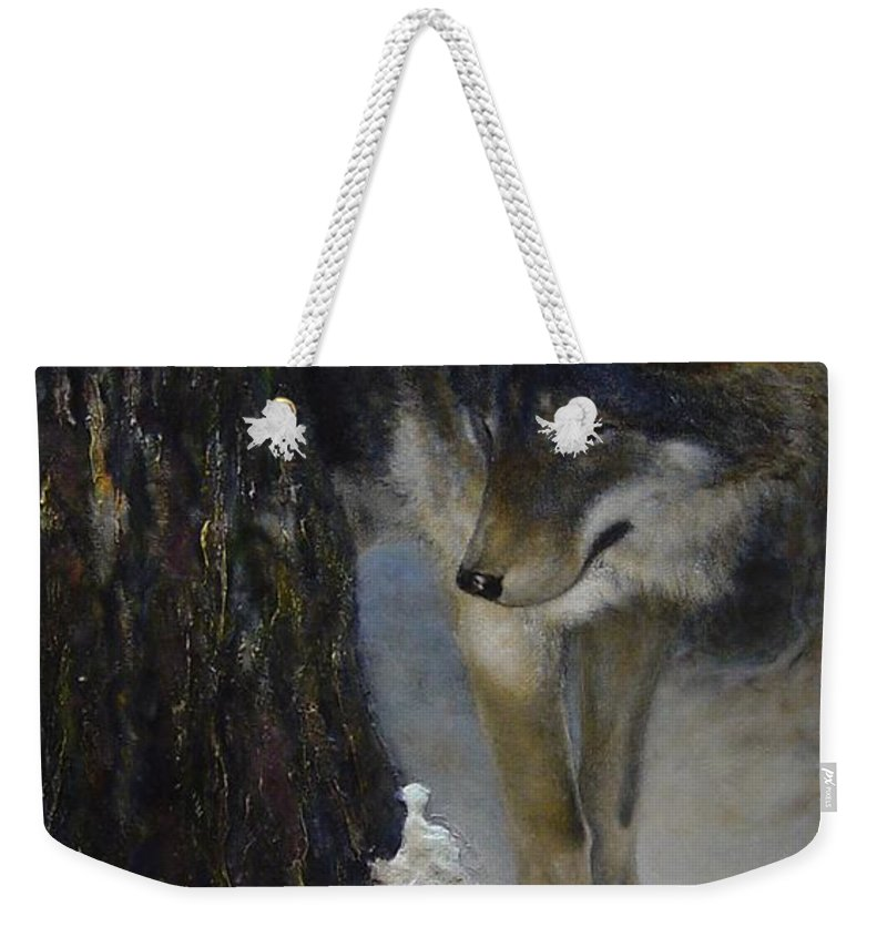 Wolf Weekender Tote Bag featuring the painting Twilight's Preyer by James Berger