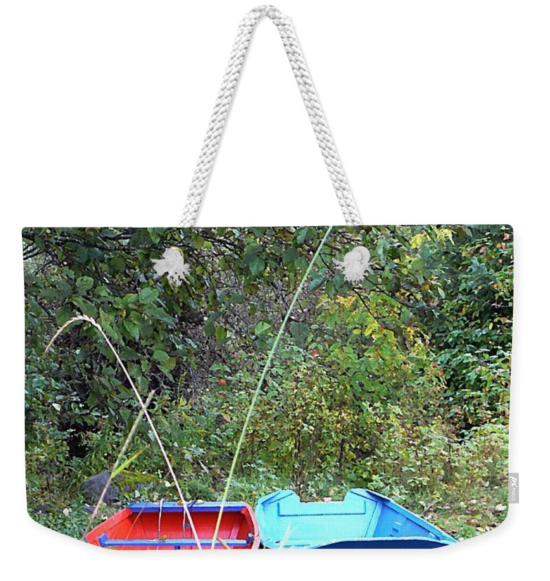 Twin Boats Weekender Tote Bag featuring the photograph Twin Boats Bella Coola Bc by Barbara St Jean