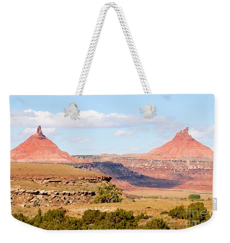 Twin Buttes Weekender Tote Bag featuring the photograph Twin Buttes by David Lee Thompson