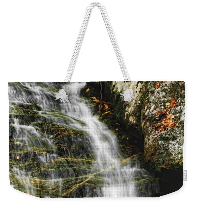 Waterfalls Water Flowing Stream Creek Photograph Photography North Carolina Nature Landscape Weekender Tote Bag featuring the photograph Twin Falls - Nc by Shari Jardina